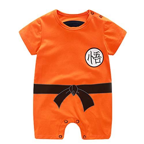 Dragon Ball Z Design Baby Jungen Mädchen Strampler Cosplay Kostüm Goku-inspiriert Säugling Outfit Overall Kleidung kurzarm, orange, 66 (6MTH)