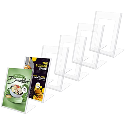 Kurtzy A5 Helder Plastic Folder Houder (6 Pak) – Gehelde Portret Plastic Display Houders – Tafeltop Restaurant Menu…
