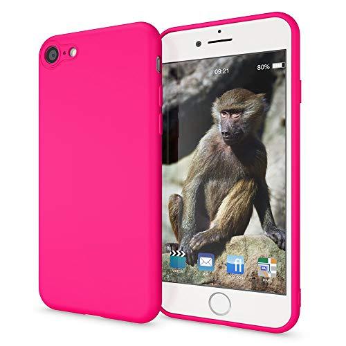 NALIA Custodia Neon compatibile con iPhone SE 2020/8 / 7, Cover Protettiva Morbido Silicone Gel Copertura Antiurto, Case Skin Resistente Telefono Cellulare Protezione Gomma Bumper, Colore:Pink