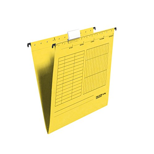 Original Falken 25er Pack Hängemappe UniReg. Made in Germany. Aus Recycling-Karton für DIN A4 seitlich offen gelb Blauer Engel ideal für die lose Blatt-Ablage im Büro und der Behörde