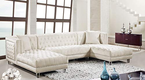 Meridian Furniture Moda Collection Modern | Contemporary Velvet Upholstered 3 Piece Sectional with Deep Button Tufting and Acrylic Lucite Legs, 127' W x 68.5' D x 31.5' H, Cream