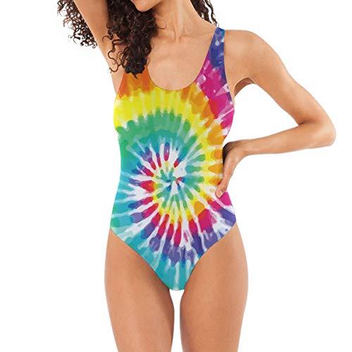 DERLONKAJE Batik-Badeanzug mit Spiralmuster, Bademode, Monokini, Strandmode, Einteiler, Badeanzüge für Frauen, Teenager, Mädchen - - Medium