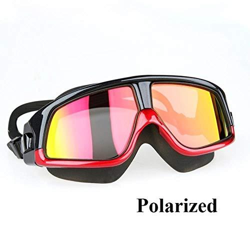 HPPL copozz Gafas de natación cómodas Gafas de natación de Marco Grande antivaho UV Hombres Mujeres Nadar máscara Impermeable, polarizado Rojo Negro, China