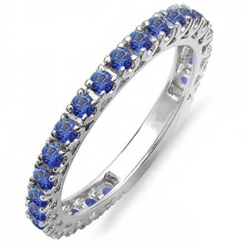 DazzlingRock Collection 1.10 Quilates (CTW) 14k de Oro Blanco Redonda de Color Azul Zafiro eternidad considerable Anillo Anillo de Matrimonio 1 CT (Tamaño 4.75) 4.75