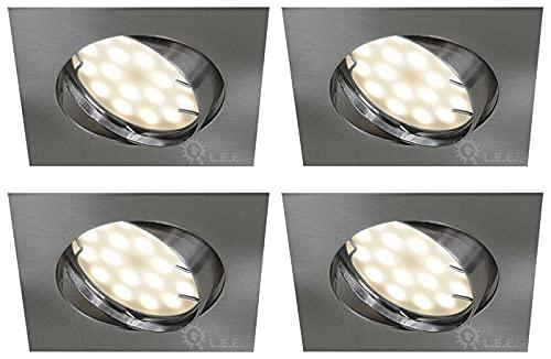 LOT DE 4 SPOT ENCASTRABLE ORIENTABLE LED CARRE ALU BROSSE GU10 230V eq. 50W BLANC NEUTRE