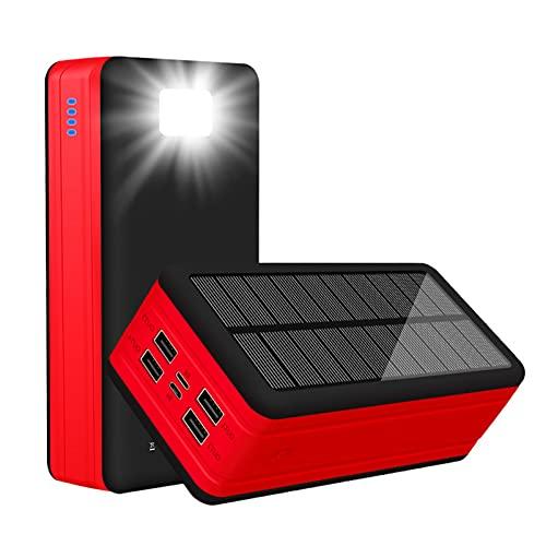 PWQ-01 Power Bank Solar 50000mAh, 5 Salidas 3 Entradas Cargador Solar Portátil Type C Solar Cargadores de Móvil Banco de Energía con Linterna LED Powerbank para Dispositivo Inteligente USB