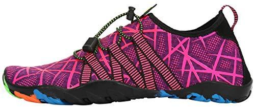 SAGUARO Escarpines Zapatos de Agua Calzado Playa Zapatillas Deportes Acuáticos para Buceo Snorkel Surf Natación Piscina Vela Mares Rocas Río para Hombre Mujer (019 Morado,38 EU)