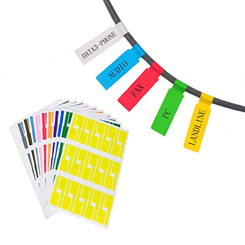 Hraindrop 16 Sheets Self-Adhesive Cable Label - A4 Size Waterproof Tear Resistant Durable Labels - Handwritten or Works with Laser Printer (480 Labels,8 Assorted Colors)