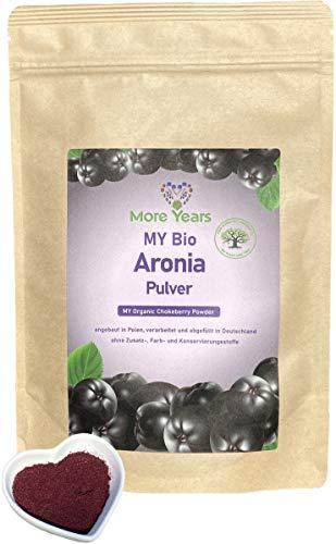 More Years® für DICH! Bio Aronia Pulver + fein gemahlen aus der ganzen Frucht + regionale Alternative zu Acai + nachhaltiges Produkt + gefriergetrocknetes Beerenpulver + 200g + Baum gepflanzt