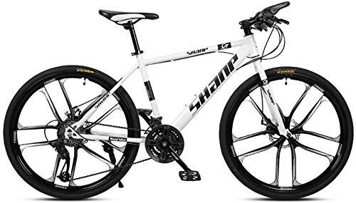 24/27 / 30inch, Integrierte Zehn-Schneidrad Erwachsener Fahrrad Mountainbike, vorne und hinten Doppelscheibenbremsen, männlich und weiblich Variable Speed Fahrräder ( Color : White , Size : 24 )