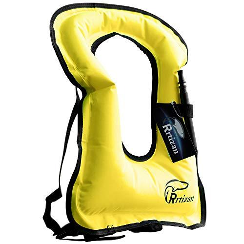 Rrtizan Unisex-Erwachsene Tragbar Aufblasbar Schwimmweste Schnorchel Weste für Tauchen Sicher (Gelb)