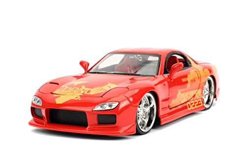 Jada Toys Fast & Furious Orange JL5 Mazda RX-7, Auto, Tuning-Modell im Maßstab 1:24, zu öffnende Türen, Motorhaube und Kofferraum, Freilauf, rot metallic