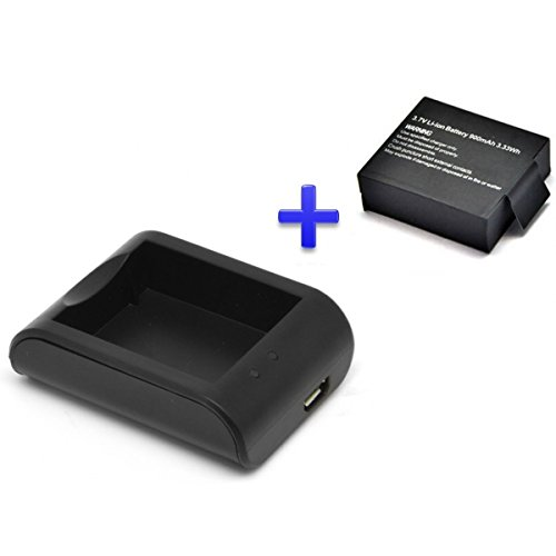 Theoutlettablet® Cargador externo para cámara deportiva DV SJCAM SJ4000 SJ5000 Sport Cam - Excelvan - Elephone - Topjoy - Qumox - Topop - VicTsing - Pictek - Dbpower - Q5 - SK8 - EX5000 + 1 Batería reemplazo 900 mah