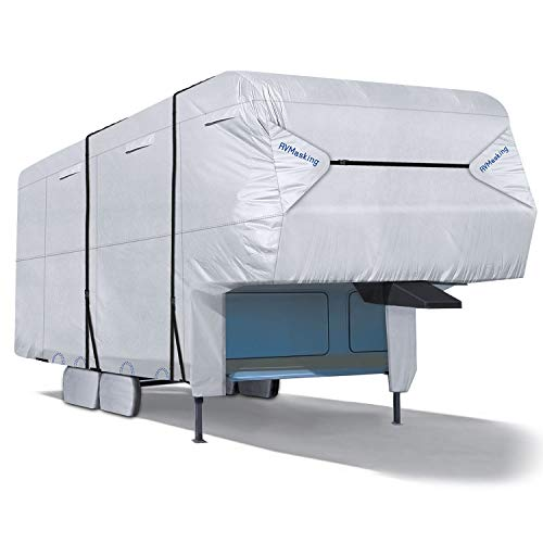 """RVMasking RV 5th Wheel Cover 31'1""""-34'L with 4 Tire Covers, Ripstop & Waterproof Camper Cover"""