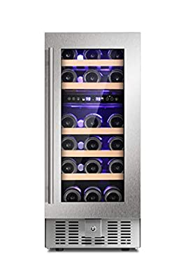 Joy Pebble Wine Cooler 28 Bottle Dual Zone Built-in Wine Cellar with Stainless Steel & Double-Layer Tempered Glass Door and Temperature Memory Function
