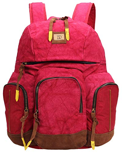 iblue 601282 Rucksack, Canvas, für Schule, Laptop, Schultertasche, Größe L - Rot - Large