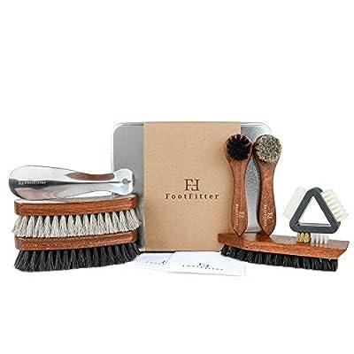 FootFitter Exclusive Shoe Shine Brush Set, 7 piece Shoe Polishing Kit