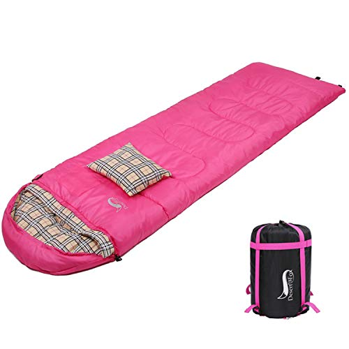 DESERT & FOX Cotton Flannel Sleeping Bags Attach Pillow, 4 Season Warm & Cold Weather Envelope Compression Sack, Lightweight & Portable Sleeping Bag for Outdoor Camping, Hiking, Traveling