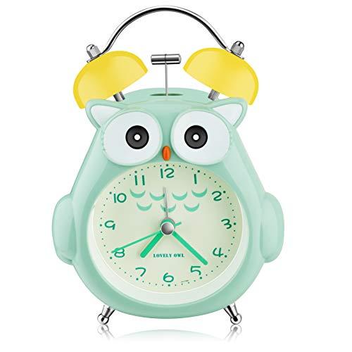 Kids Alarm Clock, Owl Loud Bell Alarm Clock, Silent Non-Ticking Desk Clock with Night Light, Battery Operated, Child Clock for Children, Teen, Bedroom (Green)
