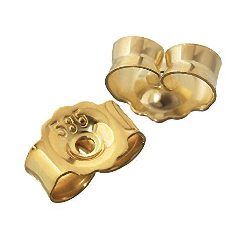 NKlaus 1 Paar 585 Gelbgold 14 Karat Gold 5,2mm Gegenstecker für Ohrstecker Ohrringe Ohrstopper Pousetten Ohrmutter Butterfly Schmetterling Verschluss Loch: 0,8mm 4822