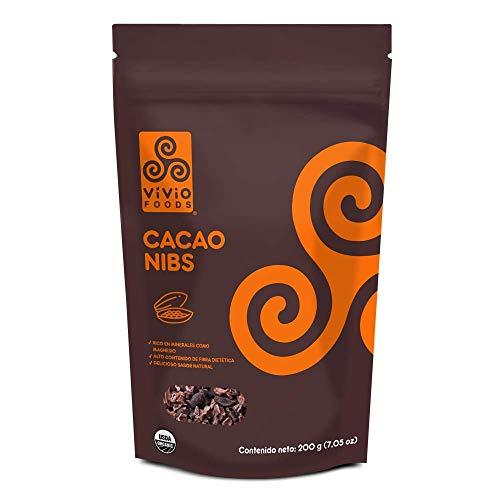 Vivio Foods Cacao Nibs Orgánicos, Cacao, 200 gramos