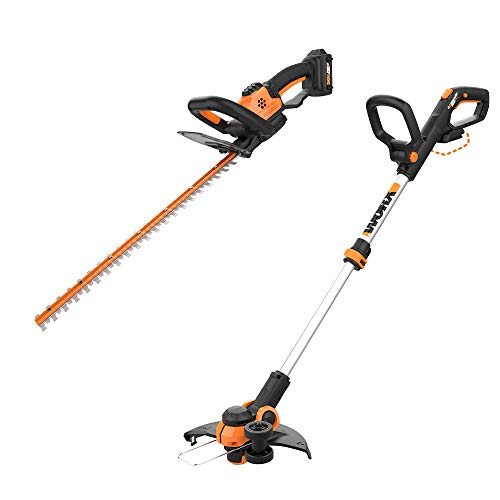 "WORX WG261 20V Power Share 22-inch Cordless Hedge Trimmer, Battery and Charger Included with Cordless Grass Trimmer/Edger with Command Feed, 12"" Tool ONLY"