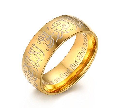 Vnox Edelstahl Shahada Allah Band Arabisch Islamisch Moslem Religiös Muslim Ring Schmuck Gold