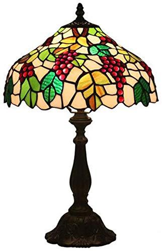 """WLXJDJ Lámpara De Mesa Estilo Tiffany Vintage Verde Amarillo Vitral Escritorio De UVA De Estar - Antiguo Lámparas Sala Junto Dormitorio Base Zinc para 12""""- A"""