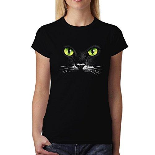 avocadoWEAR Yeux Verts Chat Noir Femme T-Shirt Noir M