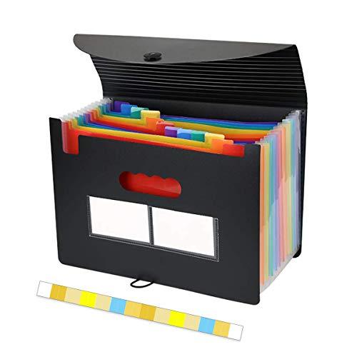 OrgaWiseドキュメントスタンド ファイルケース ドキュメントファイル(A4 大容量 ドキュメントファイル) 12ポケット 自立型 書類/ファイル 整理 収納 分類用インデックス付き (12ポケットファイルバッグ)