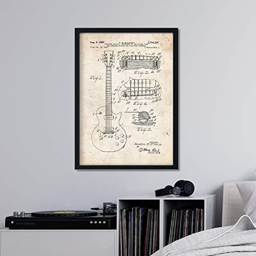 Nacnic Gitarren-Plakat-Patent. Blatt mit altem Design-Patent in der Größe A3 und Vintage-Hintergrund