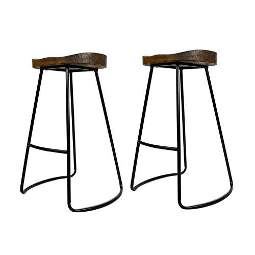 Tabourets de Bar CJC 2 X Vintage Cuisine Rustique pub Set Black Metal Frame Solide en Bois de Style Industriel (Taille: 34 * 46 * 65cm),A