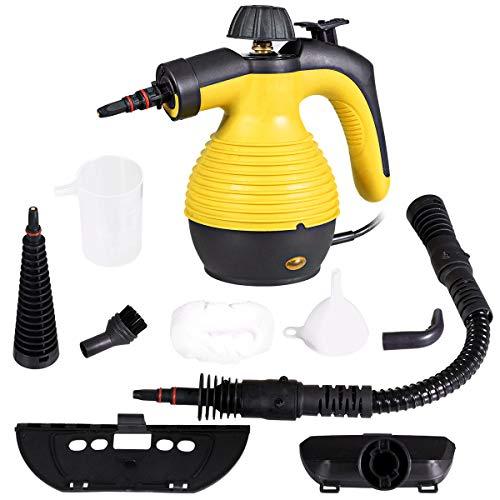 COSTWAY Dampfreiniger inkl. 9 Zubehörteil, Handdampfreiniger, Dampfreinigen Handgerät 3 bar / 350ml / 1050W / 3-5min Aufheizzeit/für Teppiche, Vorhänge, Autositze, Küche(Gelb)