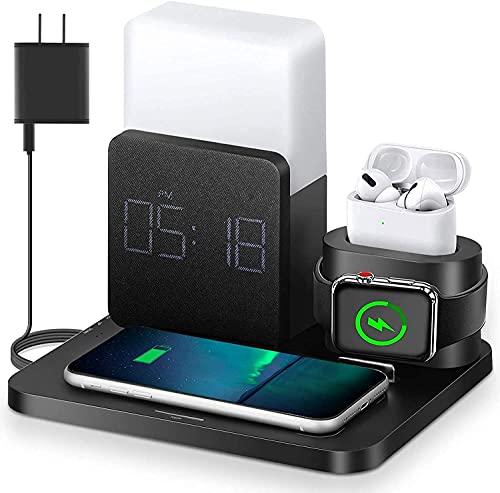 Cargador inalámbrico, estación de carga rápida 3 en 1 con reloj despertador digital, luz nocturna, compatible con Apple Watch iPhone 12, 12 Mini, 12 Pro Max, SE 2020, 11, 11 Pro, AirPods (negro)