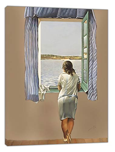 Stampa su tela con cornice in legno, motivo: ragazza alla finestra di Salvador Dali, decorazione da parete, pronta da appendere, 38 mm di profondità