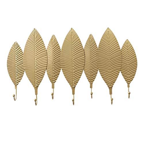 Garderobestandaard met afwisselende wandhouder, 5 haken, garderobestandaard, gietijzer, sleutelhouder, decoratieve wandhaken, schroeven en anker, gouden woonkamer, S 65cm