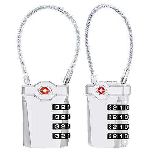 Candados de Equipaje [VersióN Nueva] Diyife 2 X TSA Candado de Seguridad de 4 DíGitos, Candados de CombinacióN Candado de cable flexible de 14 cm para Maletas Viaje Mochila Equipaje(Plata)