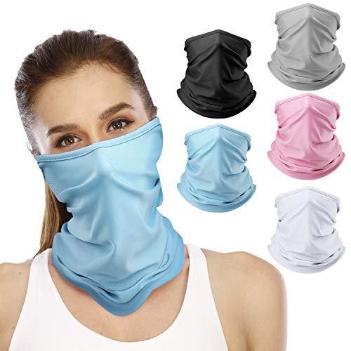 5 Pieces Neck Gaiters for Women/Men Reusable Face Cover Scarf Bandana (Style 2)