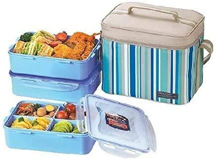Lock & Lock Picnic Lunch Box Bento Set - HPL824RB, Blue (Large)