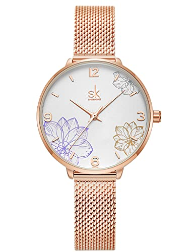 Alienwork Reloj Mujer Oro Rosa Banda de Malla Metálica Blanco Elegante