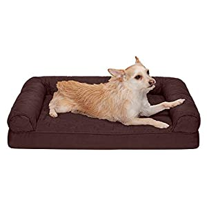 Furhaven Pet Dog Bed – Orthopedic Quilted Traditional Sofa-Style Living Room Couch Pet Bed with Removable Cover for Dogs and Cats, Coffee, Medium
