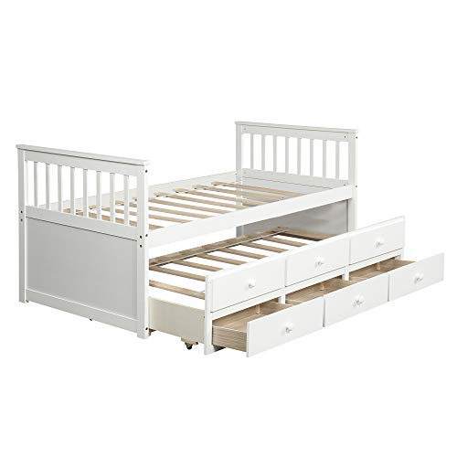 Merax Captain's Platform Storage Bed with Trundle Bed and Drawers, Twin (White)