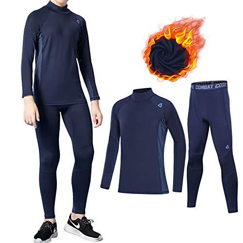 TBoonor - Biancheria intima termica per bambini, con collo alto, antivento, per calcio, ciclismo, corsa, sport