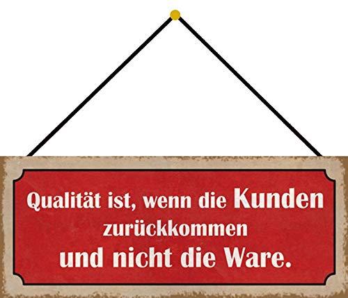 FS Klanten goederen blikken bord gewelfd Metal Sign 10 x 27 cm met koord