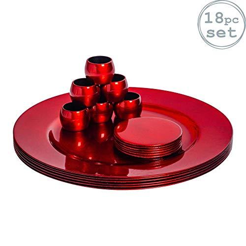 Platos de sitio, posavasos y servilleteros - rojos - Set de 18
