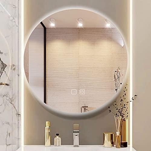 Espejo Baño LED Redondo Espejo de Baño Antivaho con 3 Modos de Luces Ajustables Interruptor Táctil Espejo de Pared para Tocador Dormitorio