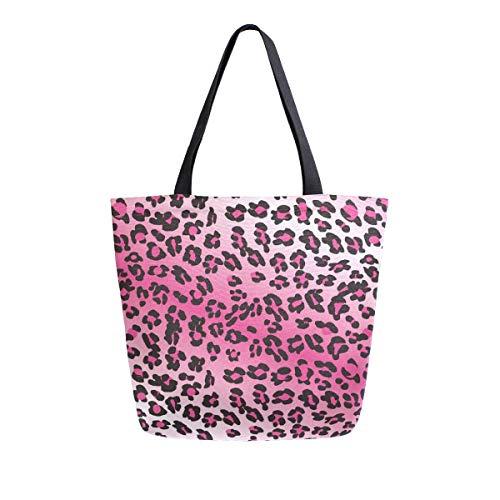 Bolso de mano con asa superior para el hombro, diseño de leopardo, color rosa