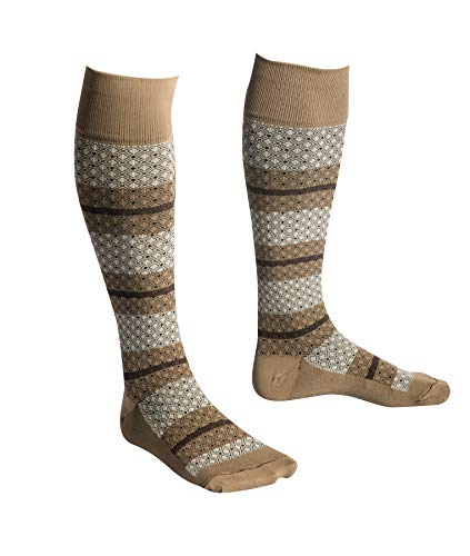 EvoNation USA Made Men & Women Striped Design Graduated Compression Socks 15-20 mmHg Medical Quality Knee High Orthopedic Moderate Pressure Travel Support Stockings Hose - Best Fit (Medium, Tan)