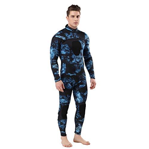 QIMANZI Taucheranzug Herren Wetsuit 3MM Ganzkörperanzug Super Stretch Tauchanzug Swim Surf Schnorcheln(Dunkelblau,2XL)