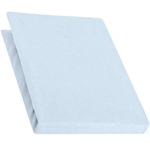 aqua-textiel Pur Topper hoeslaken 120x200-130x200 cm aqua blauw boxspringbedden topperlaken katoen